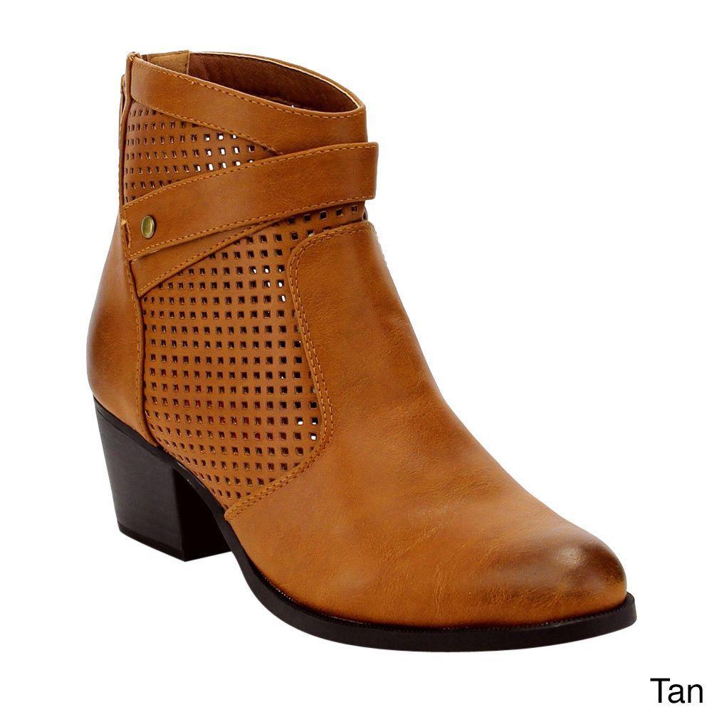 C Label AE34 Women's Black/Brown/ Rear-zipper Perforated Block Heel Ankle Booties