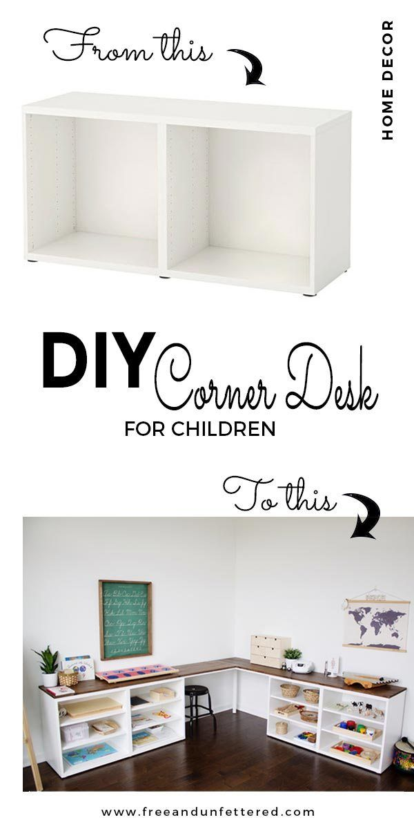 Photo of IKEA HACK: Create a Corner Desktop for Kids Using Besta Shelves