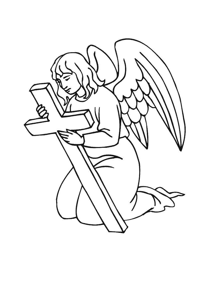 Сделать, картинка ангела с крыльями для детей раскраска
