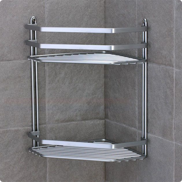 Satina Double Corner Shower Wire Shelf Cubicle Tidy | Bathroom ...