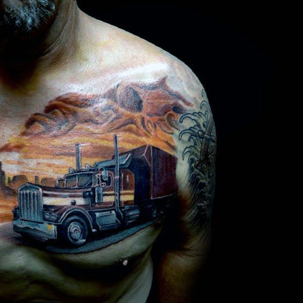 semi truck tattoos designs 60 truck tattoos for men vintage and big tattoo ideas. Black Bedroom Furniture Sets. Home Design Ideas