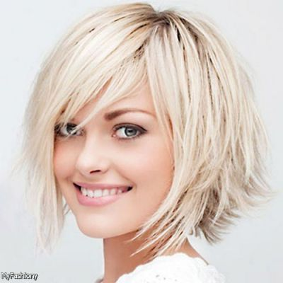 layered short hairstyles with side swept bangs , Google