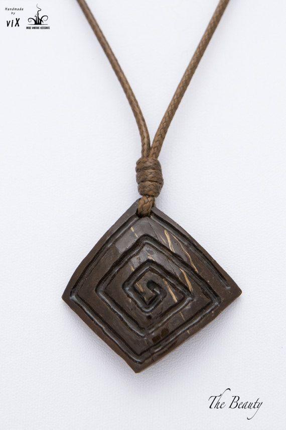 Wood coconut square spiral pendant square by thebeautyjewelryshop wood coconut square spiral pendant square by thebeautyjewelryshop mozeypictures Choice Image
