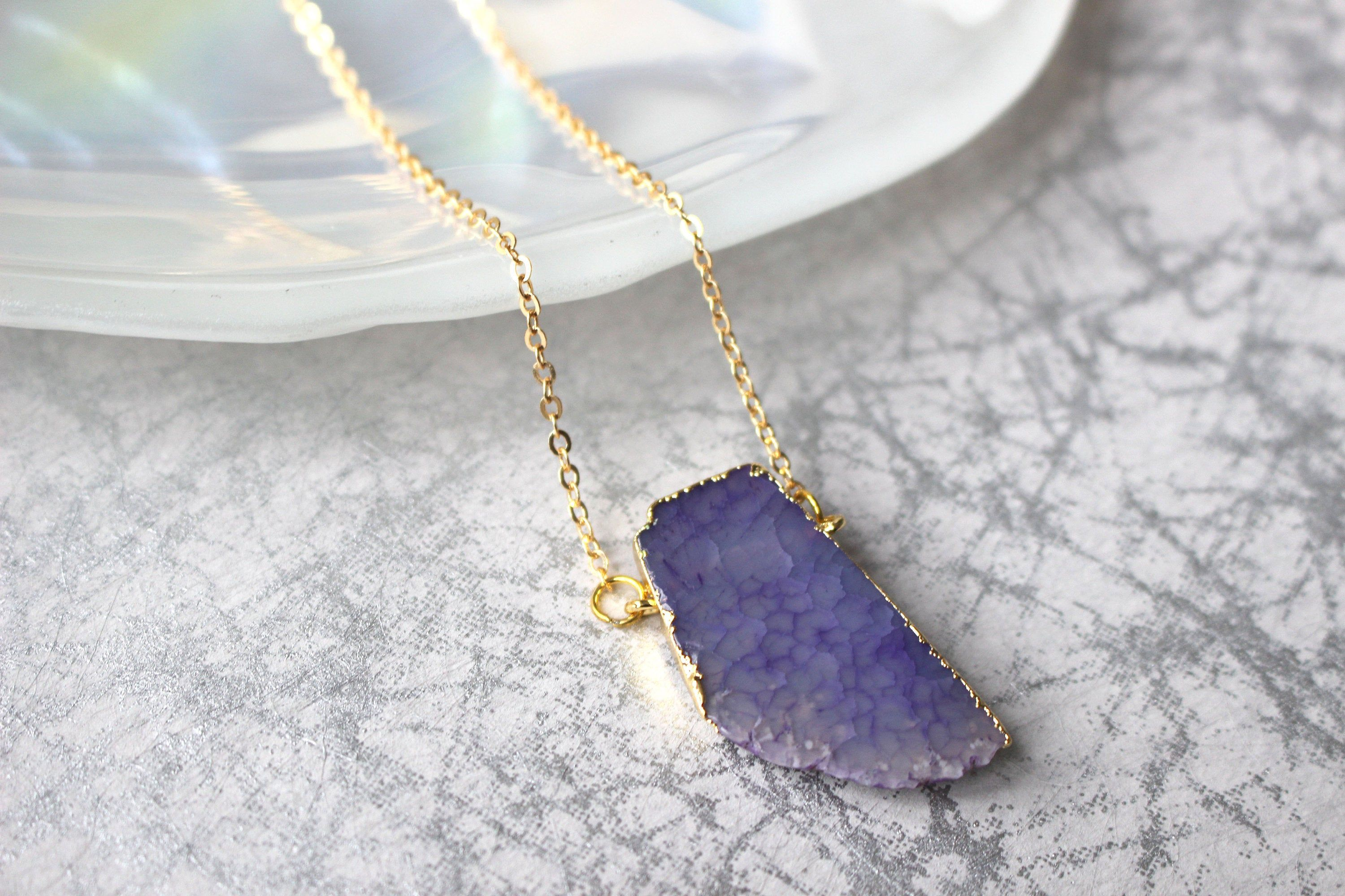 Purple Agate Crystal Gold Dipped Necklace Etsy In 2020 Purple Agate Agate Crystal Necklace Lengths