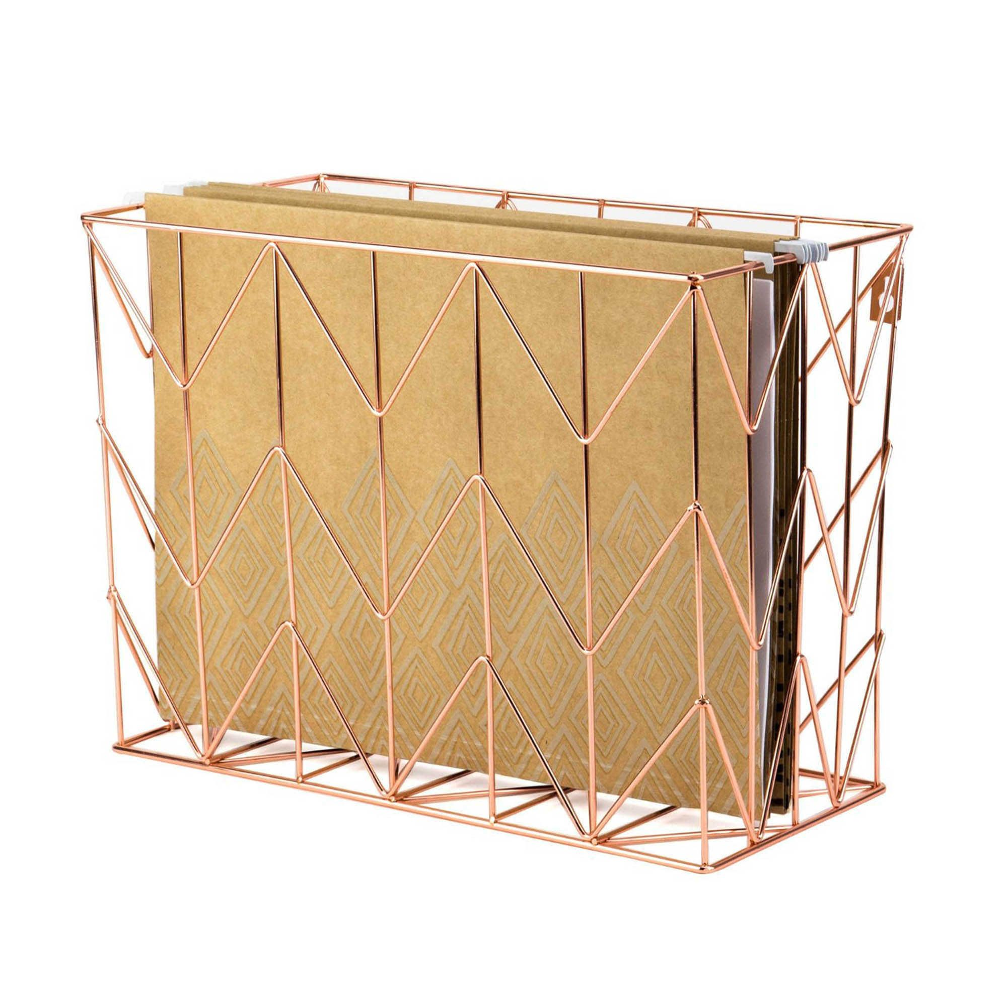 Copper Wire Hanging File Basket Hanging Files Desk Organization - Schreibtisch Organizer Gold