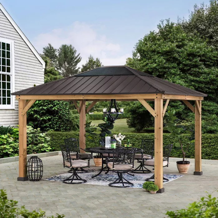 Echo Park 10 X 12 Copper Steel Top Canopy Outdoor Vented Gazebo Sunjoy In 2020 Backyard Pavilion Backyard Gazebo Outdoor Gazebos