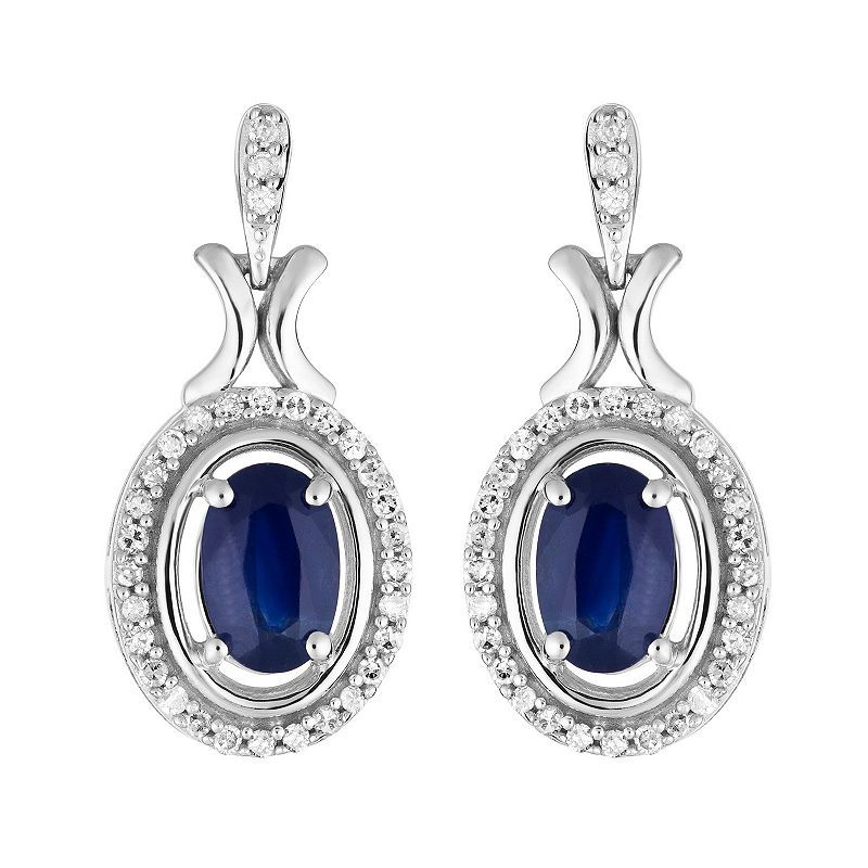 1 6 Ct T W Genuine Blue Sapphire 10k White Gold Drop Earrings Gold Drop Earrings Drop Earrings Halo Diamond
