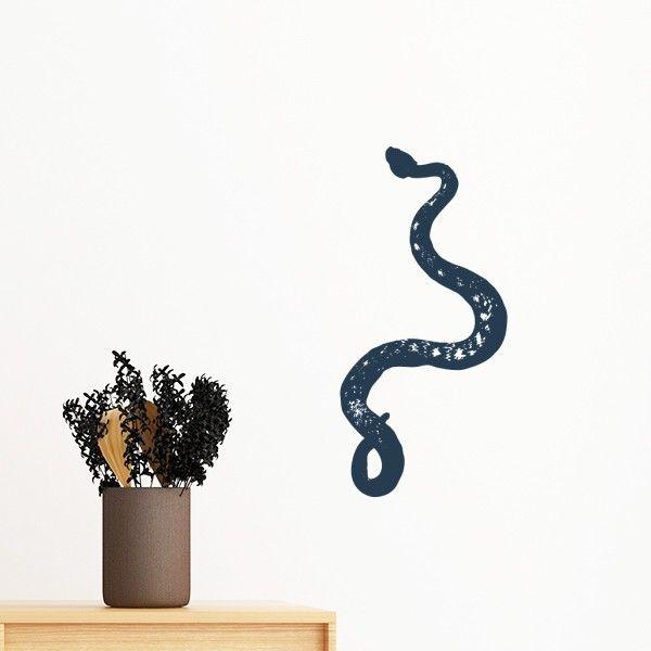 animal black snake sketch pattern removable wall sticker mural diy