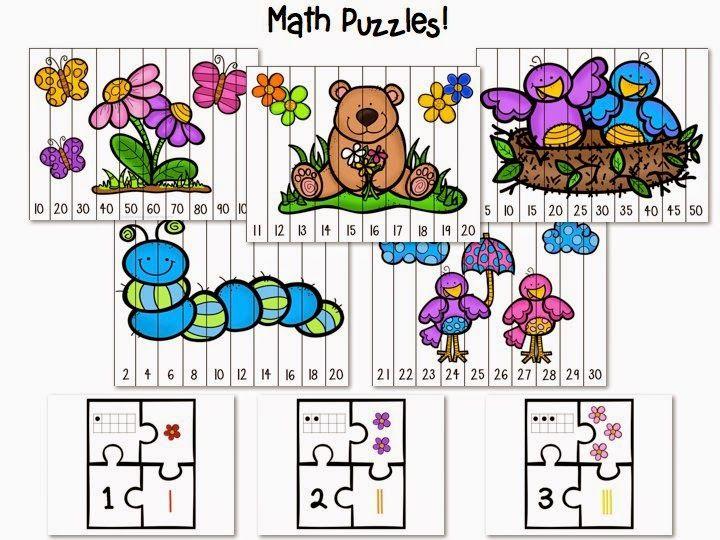 Playful Puzzles Math And Literacy Practice With A Freebie Kindergarten Smarts Kindergarten Math Kindergarten Math Lesson Literacy Practice Math puzzle worksheets for kindergarten