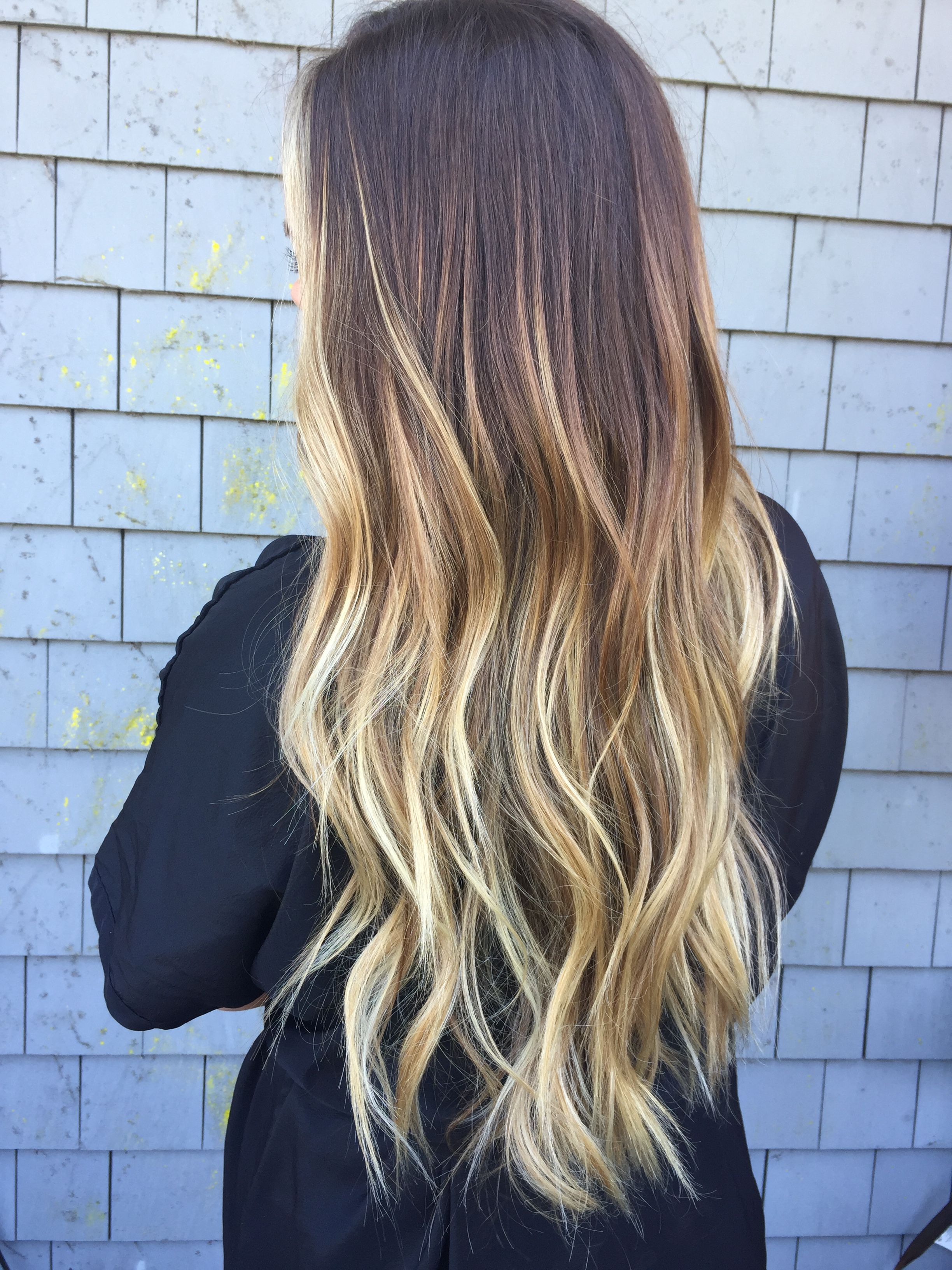 Nice Long Blonde Ombre On Dark Hair Ombre Hair Blonde Blonde Ends Dark Ombre Hair