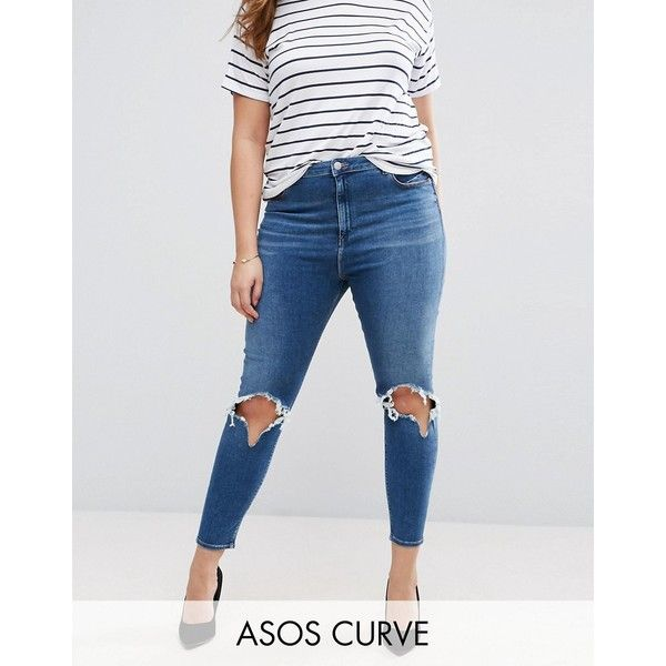 c85b4993cb77c ASOS CURVE High Waist Ridley Skinny Jean In Roy Darkwash with Rip  ...  ( 39) ❤ liked on Polyvore featuring jeans