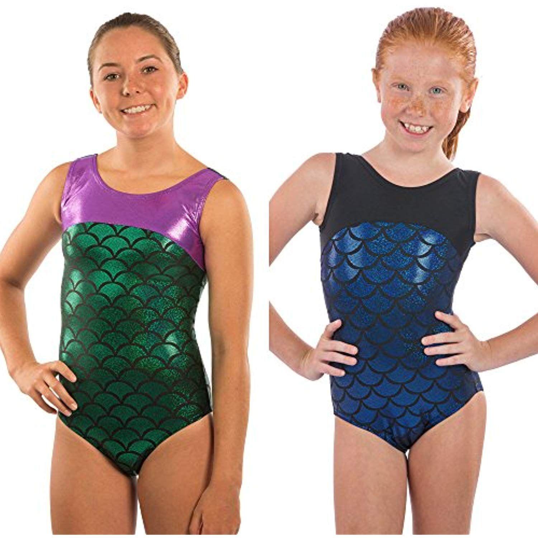 Lizatards Leotard Mermaid Girls Gymnastics Leotard Mermaid Bow Back in Girls and Adult Sizes Choose Your Favorite