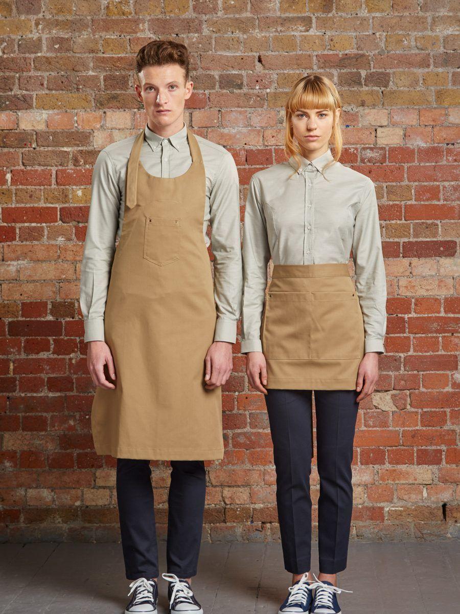 long aprons for kitchen / bar staff. Shorter ones for ...