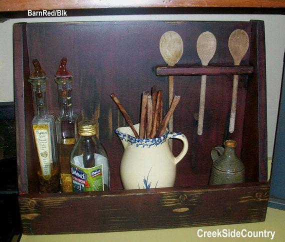 Primitive Wood Colonial Dorchester Bowl Rack Spoon Holder