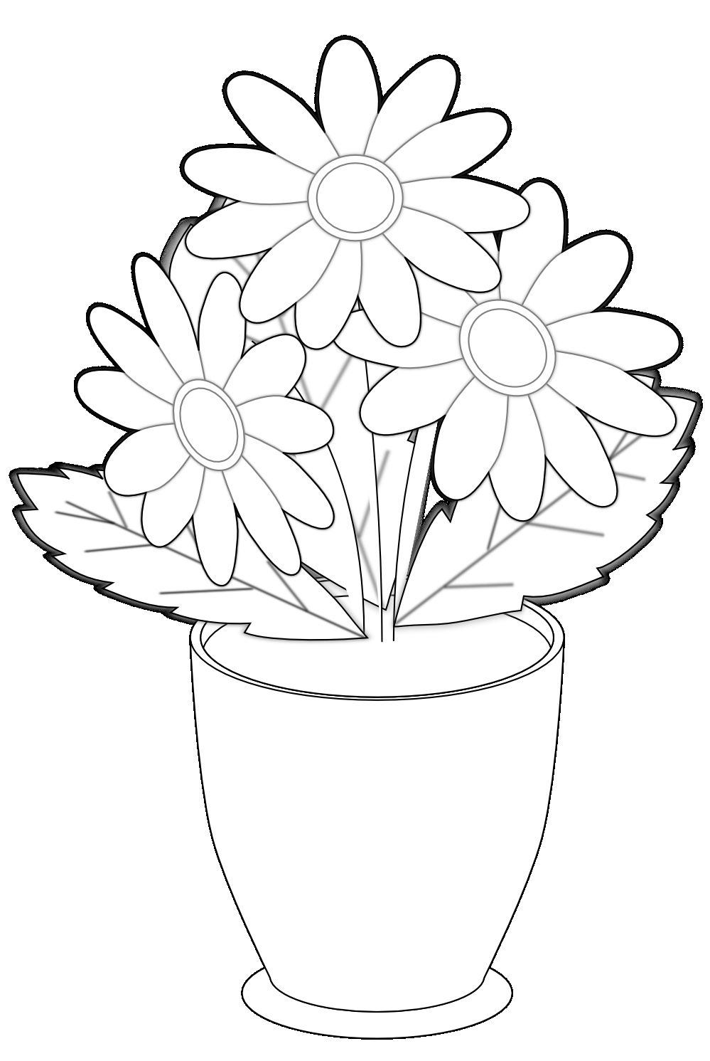 30 Lovely Vase Of Flowers Clipart Black And White Printable Flower Coloring Pages Flower Coloring Pages Coloring Pages