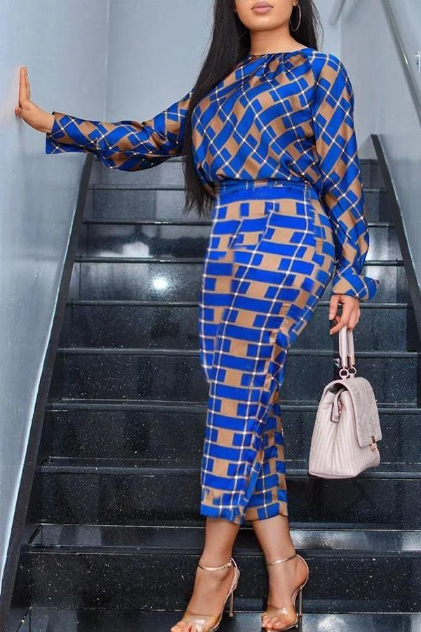 Checkered Top & Skirt Suit Set