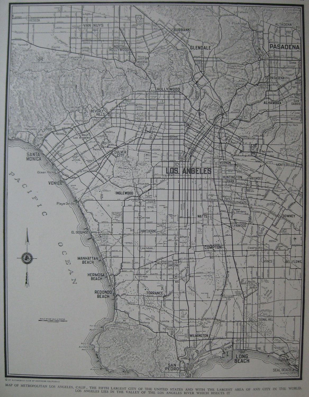 Antique LOS ANGELES MAP Of Los Angeles Black And White - Los angeles map vintage