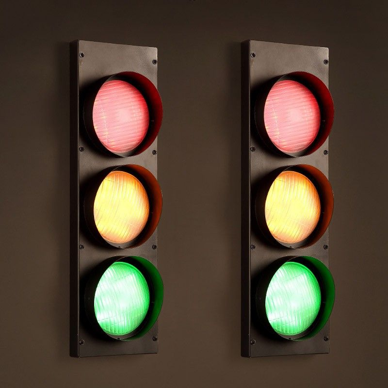 Vintage Multicolor Metal Traffic Signal Light 3 Light Led Wall Lamp Led Wall Lamp Wall Lamp Indoor Wall Lights