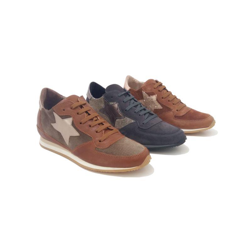 Camel Blu Cuir Glitter Sneakers Mode VelvetLe133cannes 0vm8wNn