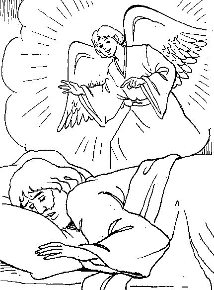 Angel Talk To Joseph Bible Coloring Pages Angel Coloring Pages Bible Verse Coloring Page