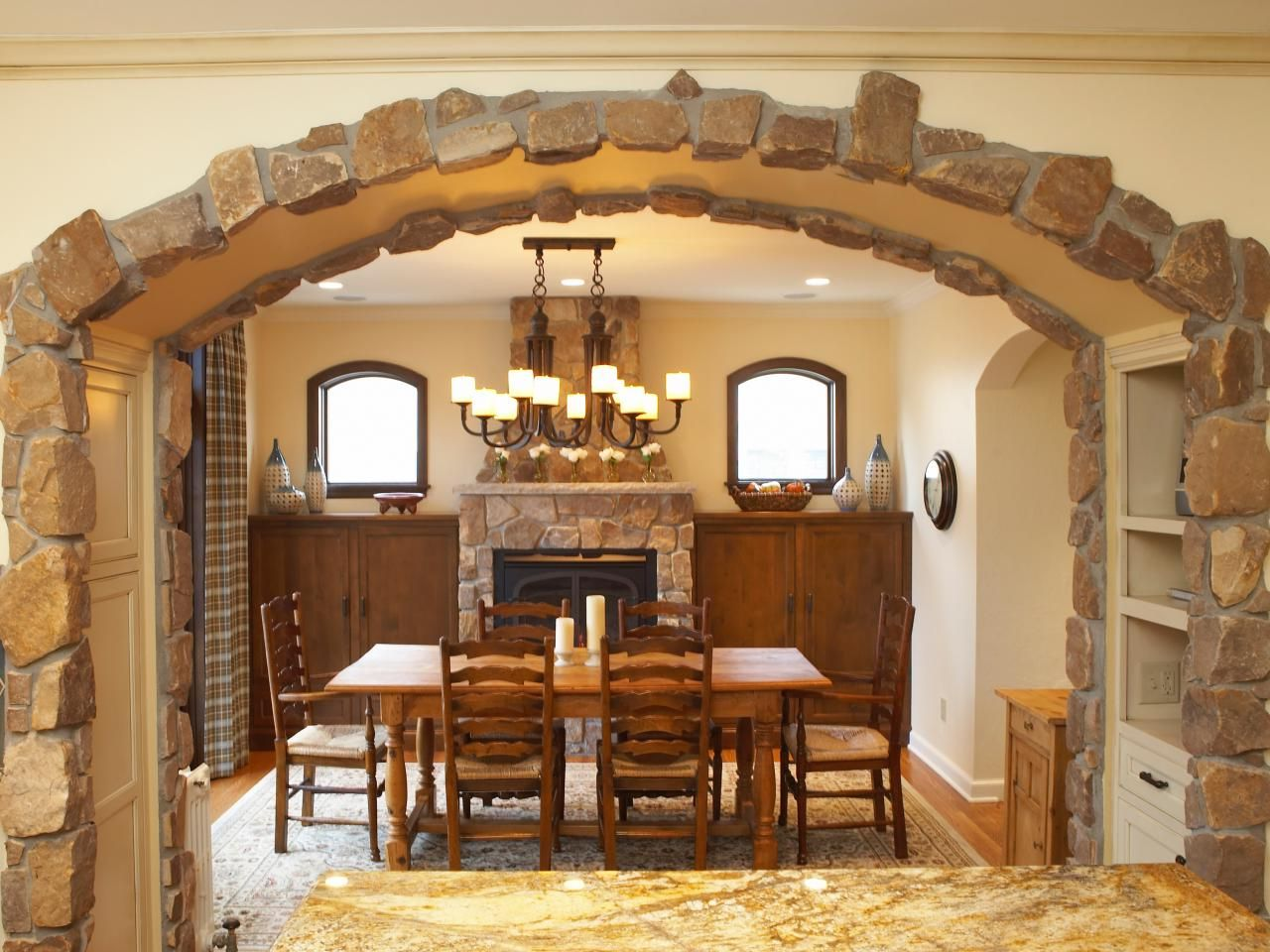 Indoor Stone Arch Cottage Dining Rooms Modern Houses Interior Stone Archway