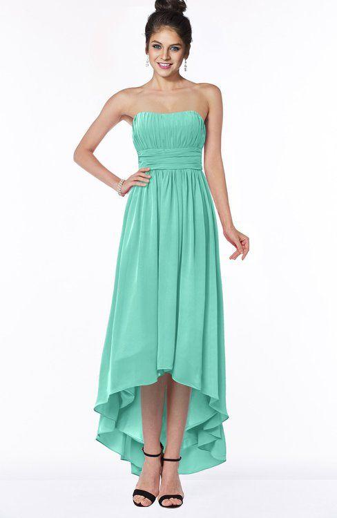 7e90852d700 Mint Green Modern Sleeveless Zip up Chiffon Hi-Lo Bridesmaid Dresses