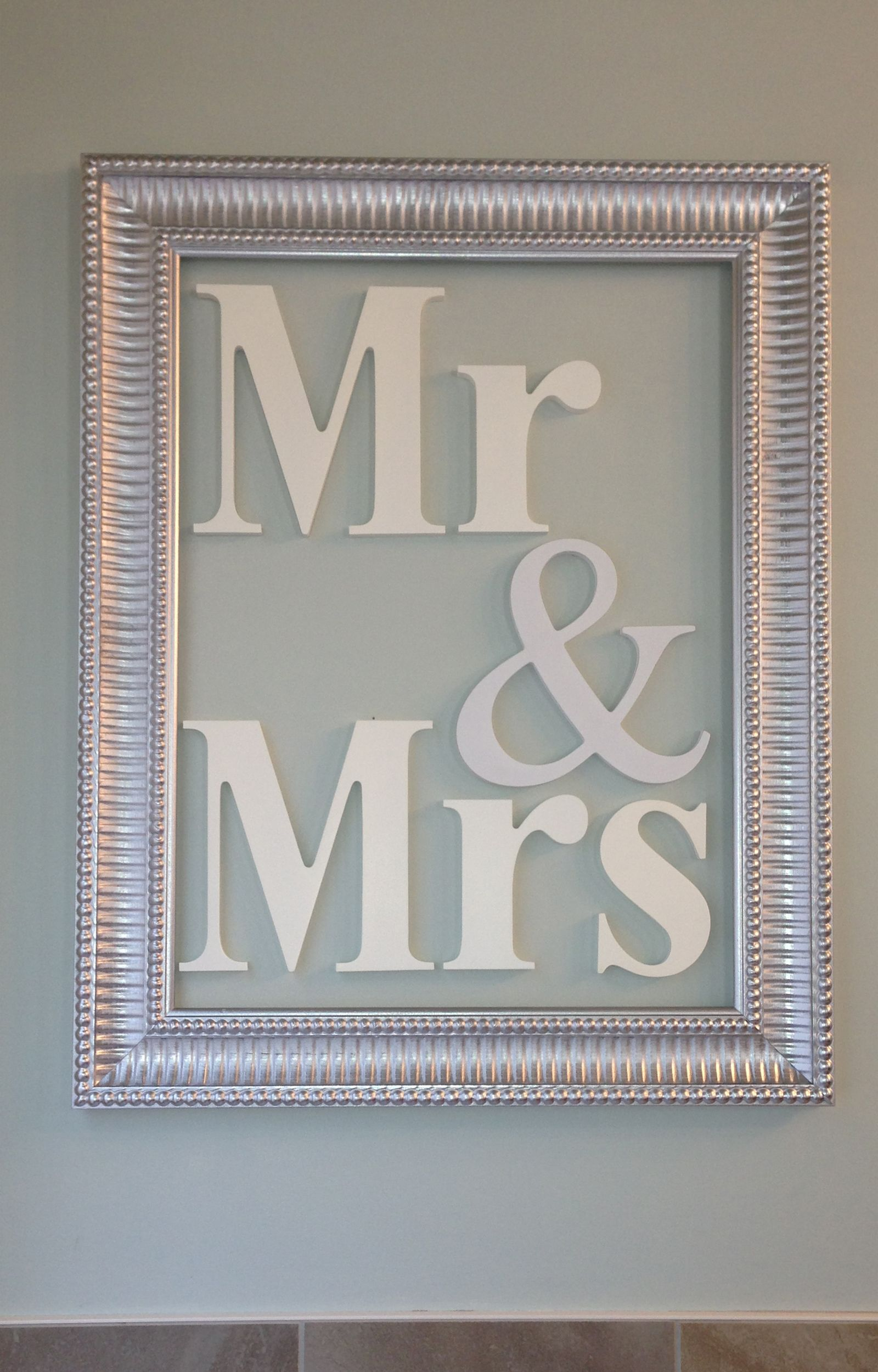 Mr & Mrs - 11x18 decorative frame with Homeworks Etc wood letters ...