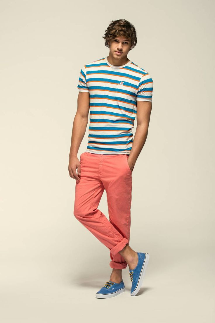 9f8a7fa659 Men's White and Blue Horizontal Striped Crew-neck T-shirt, Pink Chinos, Blue  Low Top Sneakers. Franklin & Marshall - Man's Look