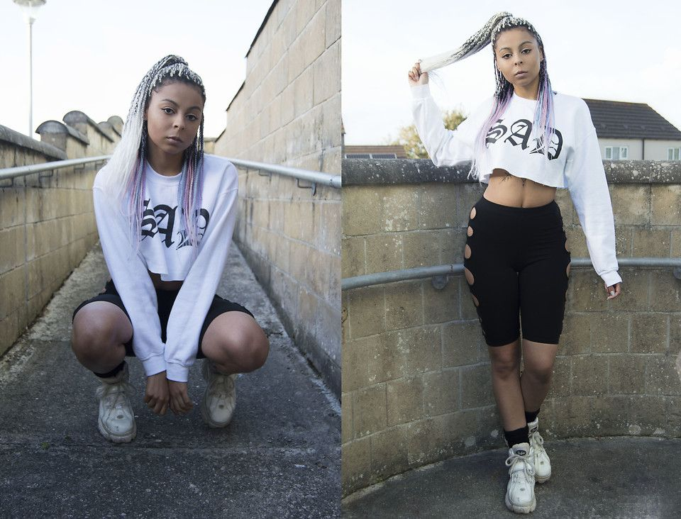 Shady Kleo - Nikkilipstick Sad Cropped Sweater, Cyberdog Peeker Shorts, Buffalo White Boots - Sad Girl | LOOKBOOK