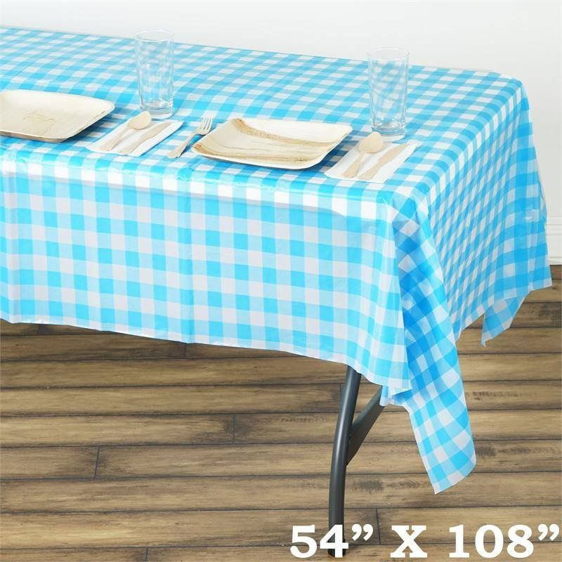 Gorgeous Checkered 54 X 108 Disposable Plastic Table Cover White Serenity Blue Our Lovely Checkered Di Plastic Table Covers Plastic Tables Table Covers