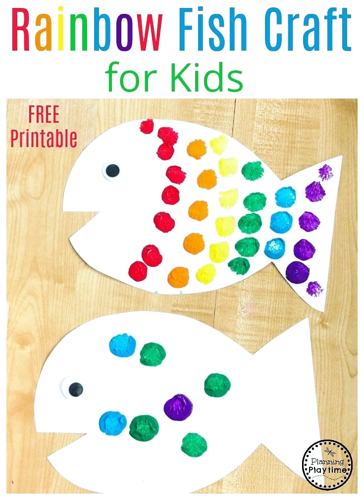 Rainbow Fish Craft - Planning Playtime -  kinder  - #AbstractPaintings #craft #FineArt #fish #planning #playtime #rainbow #WatercolorPainting