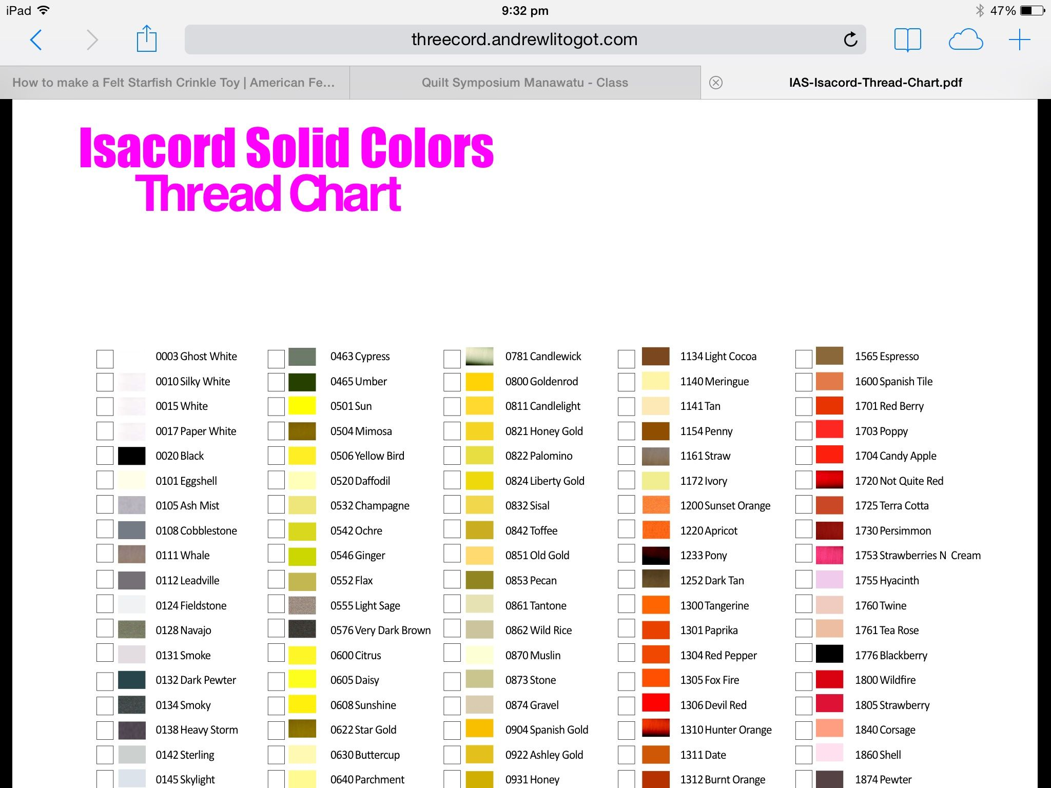Isacord Colours By Name Sewing Everything Pinterest Sewing