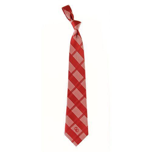 Oklahoma Sooners NCAA Woven Plaid Mens Tie (100 percent Polyester)