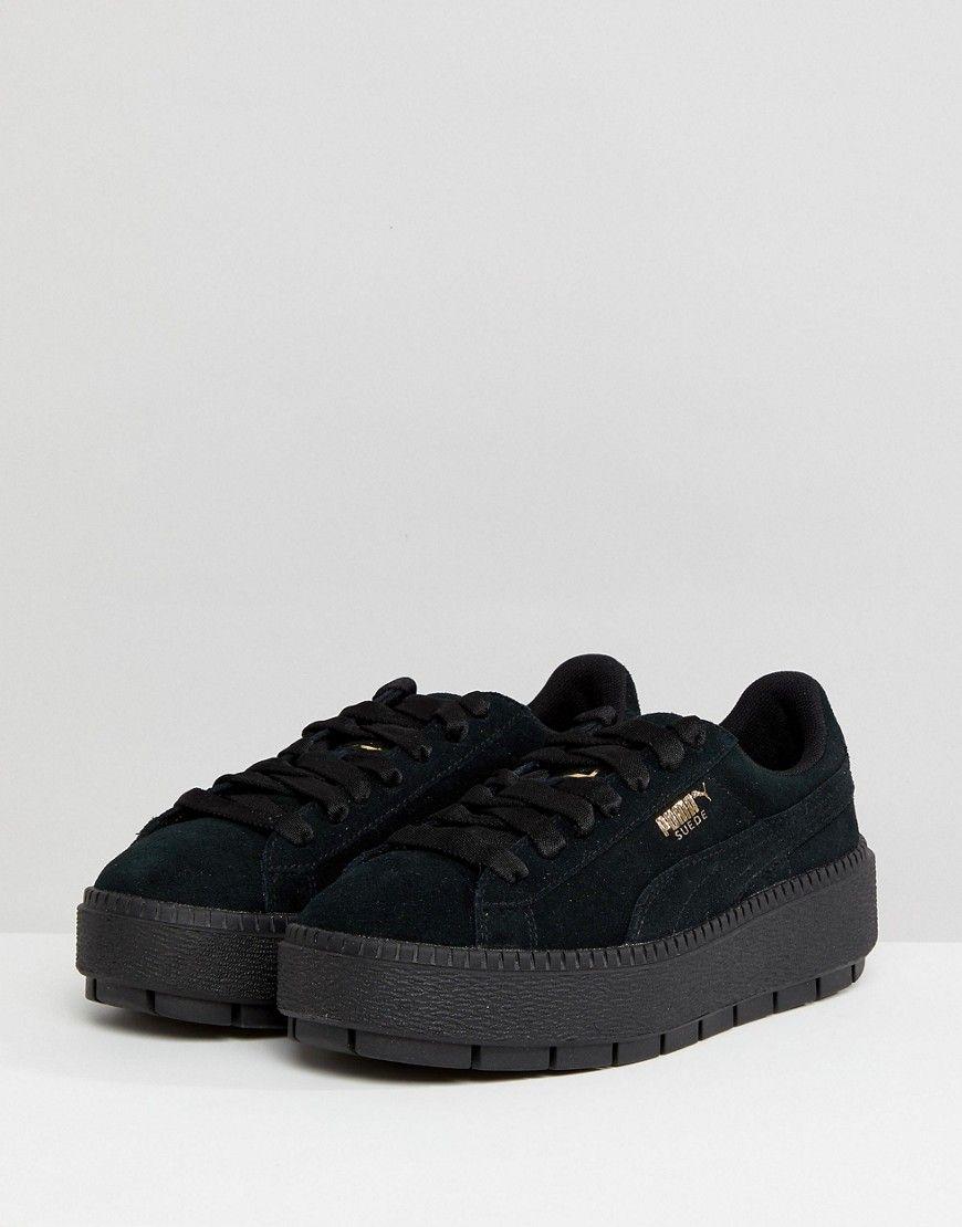 new arrival 4be6b 5853e Puma Platform Trace Triple Black Sneakers | Products | Black ...