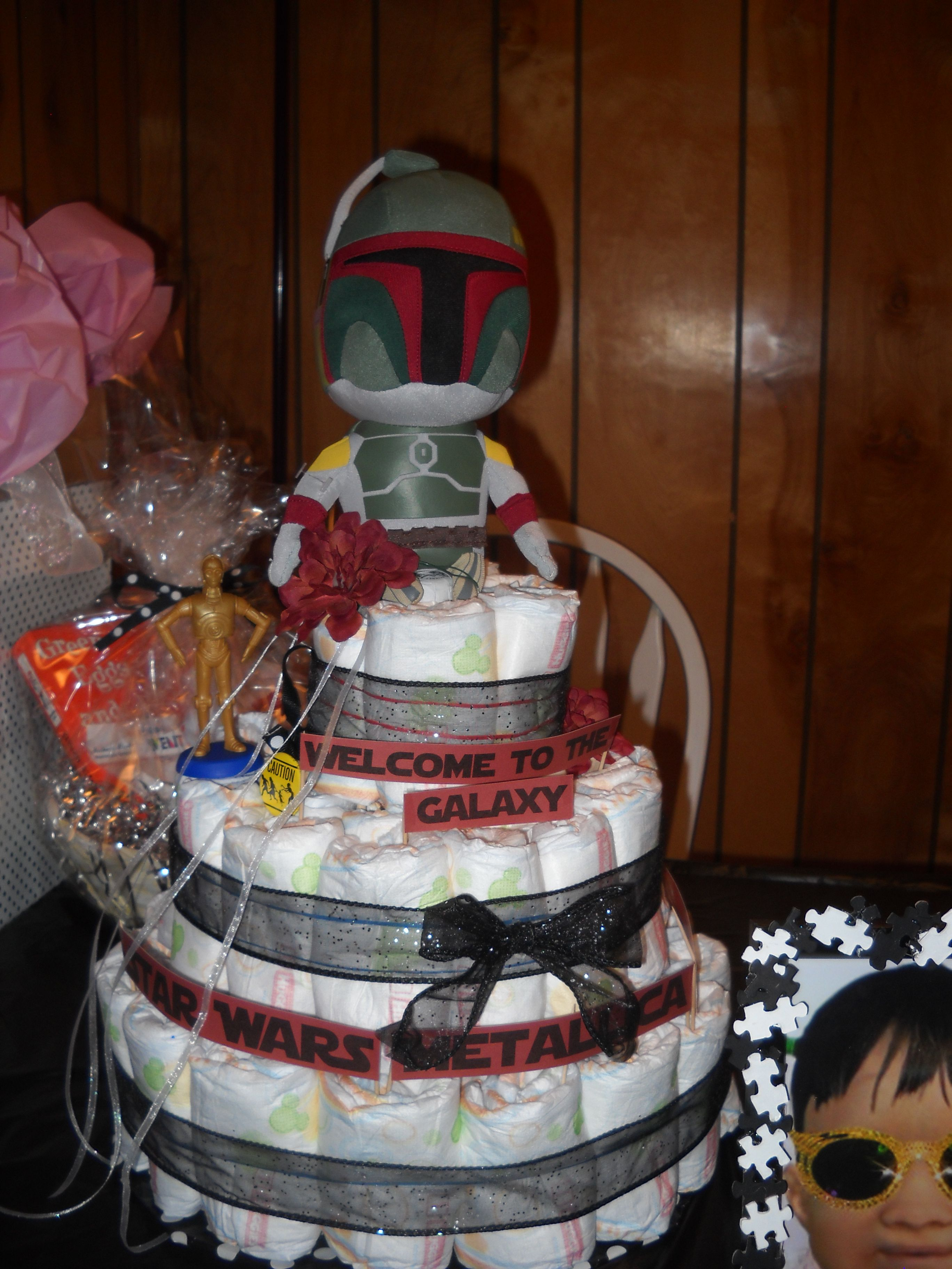 Disney Star Wars Baby Shower Diaper Cake by CutieeDelights on Etsy