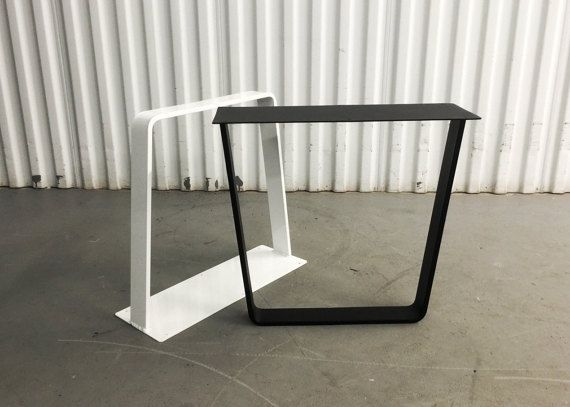 16 X 16 Black White Powder Coated Steel Metal Bench Legs Coffee Table Trapezoid Legs Set 2 Coffee Table Legs Furniture Legs Furniture