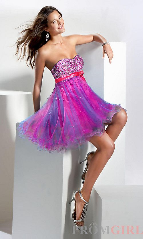 Short Pink Blue And Purple Glittery Formal Dress Cute Clothes In