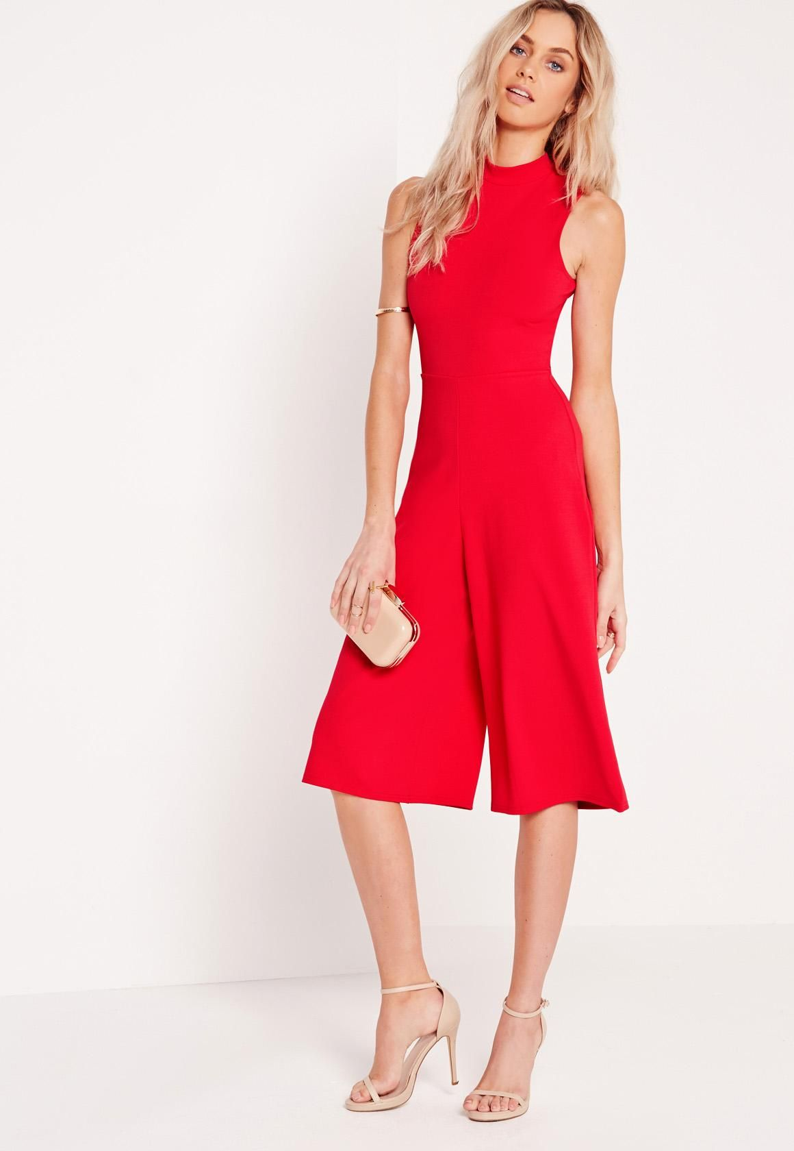 400df308b029 Missguided - High Neck Culotte Jumpsuit Red | My Style | Red ...