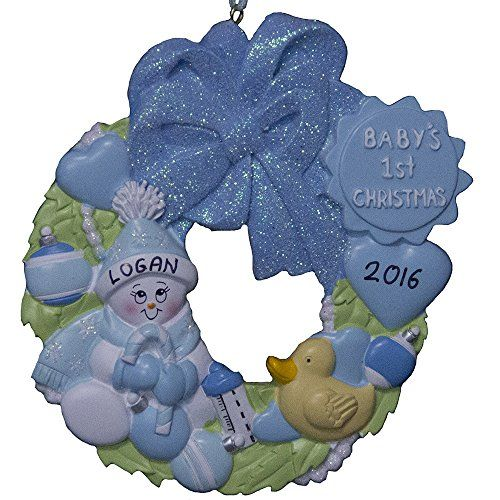 Personalized Baby`s Boy First Christmas Wreath Ornament Christmas