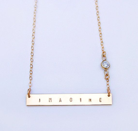 Personalized gold bar necklace with CZ stone - Nameplate necklace - Inspirational phrase necklace -14k gold fill or sterling silver