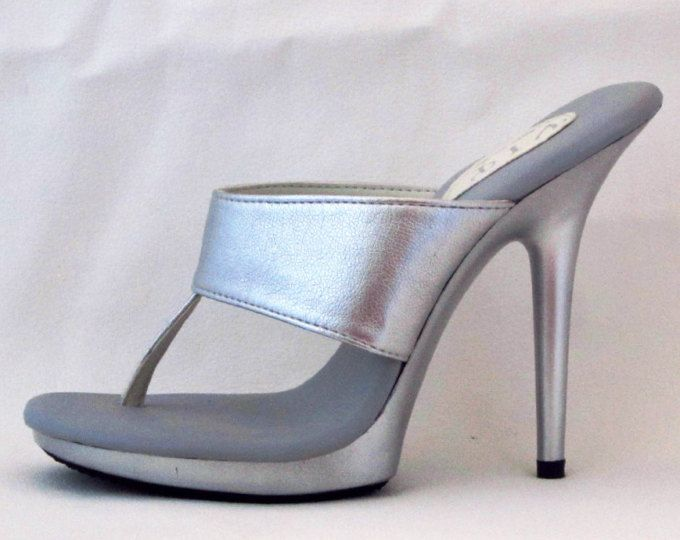 a1a79a1a8b187f VIP 5 inch Handmade Silver Leather Straight Band Thong Foot Fetish Mule High  Heel Sandals Woman Shoes