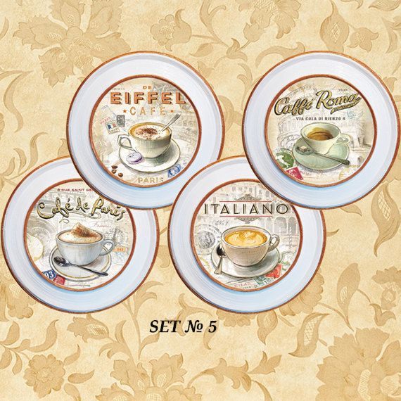 Coffee wall decoration 4 plates set wall art by PaperPlateArt  sc 1 st  Pinterest : coffee decor plates - pezcame.com