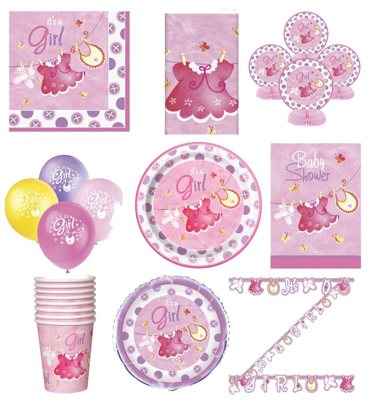 641Aud  Pink Baby Shower Party Tableware Decorations Supplies Clothesline