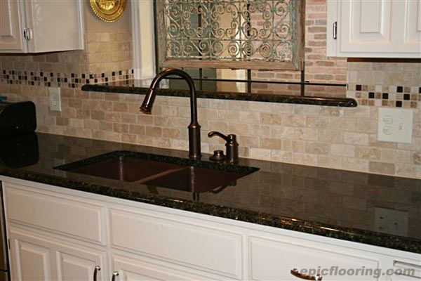 Charming Tile Backsplash Ideas With Black Granite Countertops