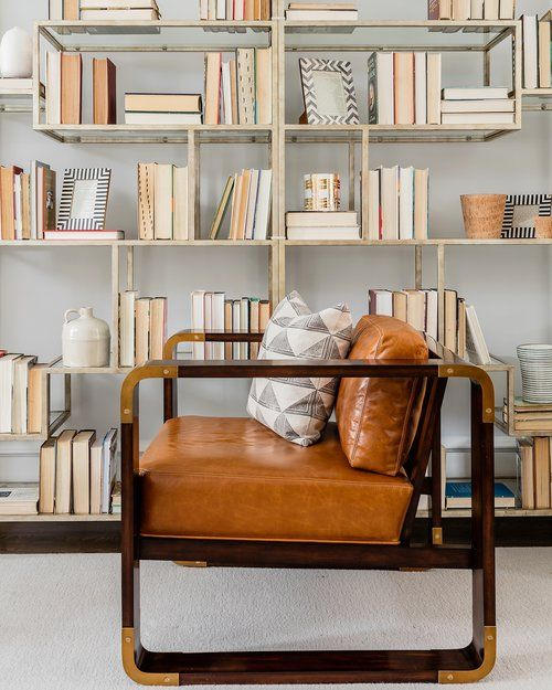 How To Style Open Back Bookshelves Modern Leather Chair Hudson Interior Designs Boston Interior Design Study Interior Design Vintage Interior