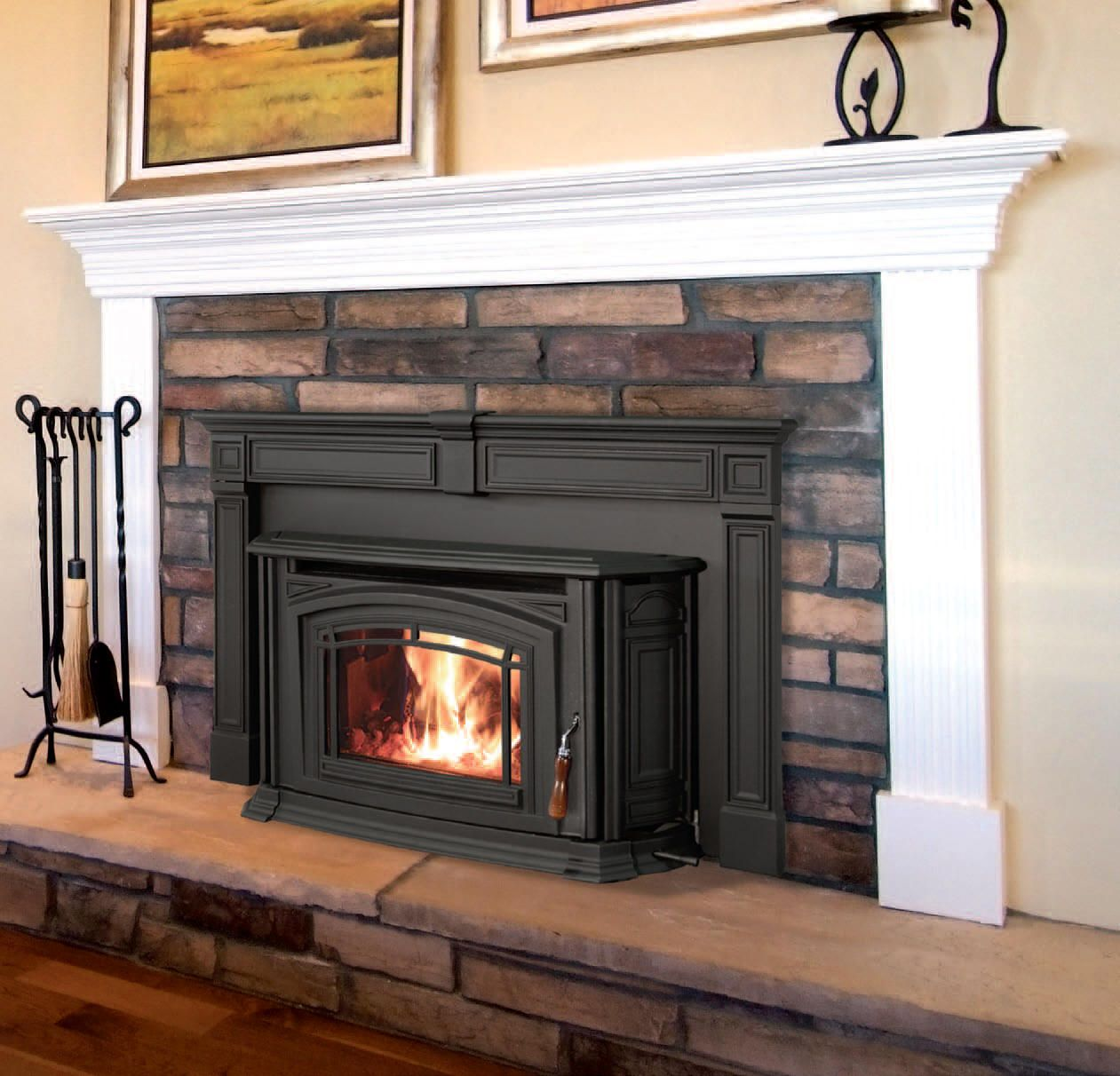 I like this pellet stove with a mantel. | Remodel ...