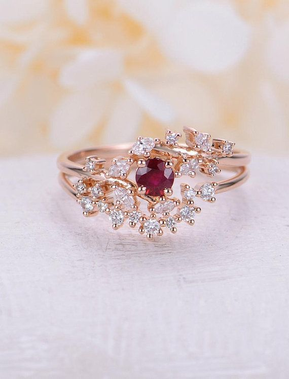 engagement ring set Diamond Cluster ring Unique rose gold engagement ring Delicate leaf wedding women Bridal Promise Anniversary Gift Rose gold engagement ring set Diamond Cluster ring Unique Ruby engagement ring Delicate leaf wedding women Bridal Promise Anniversary Gift  All our diamonds are 100% natural and not clarity enhanced or trea
