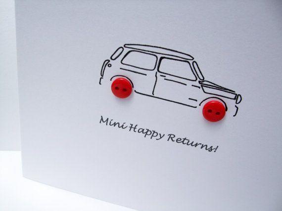 Mini Birthday Card Car Birthday Card Mini With Button Etsy Greeting Cards Handmade Birthday Cards For Boys Birthday Cards