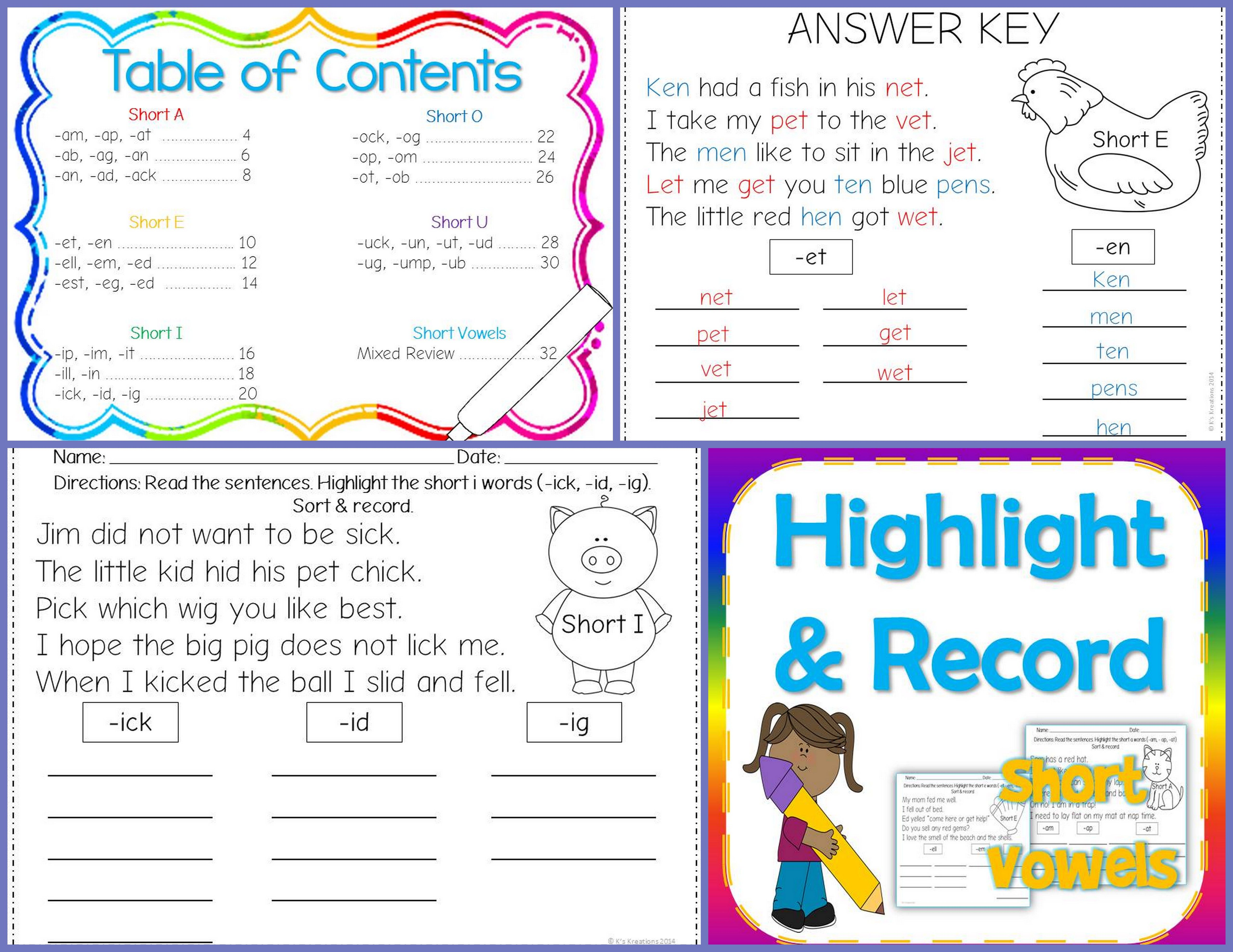 Short Vowel Word Work Highlight And Record Worksheets