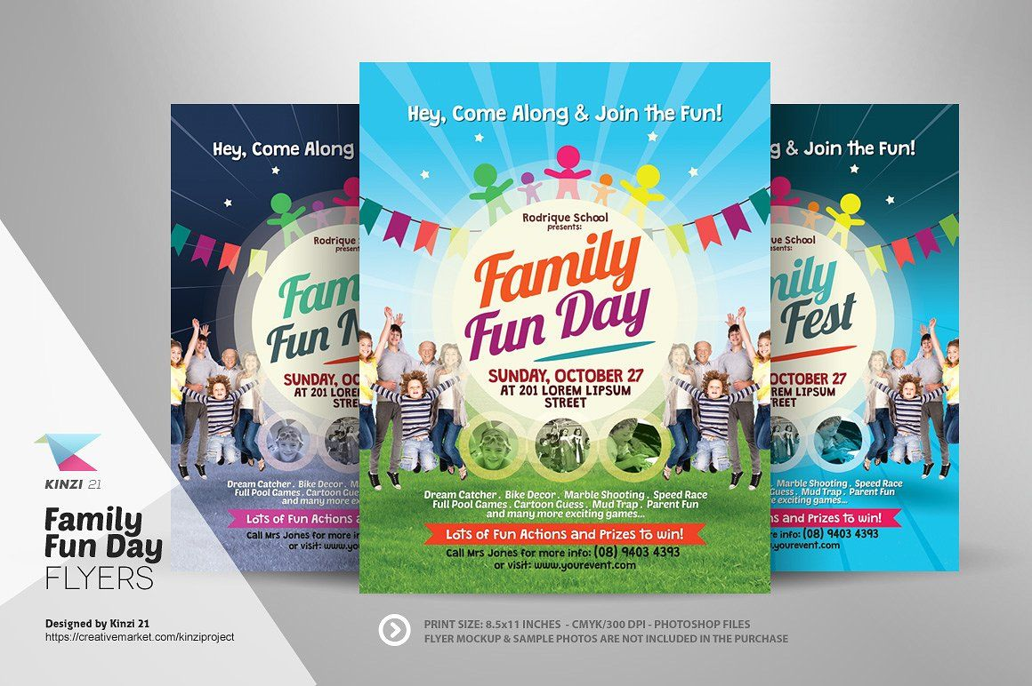 Family Fun Day Flyers By Kinzi On Creativemarket  Sarika